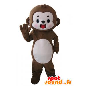 Mascotte de singe marron et blanc, très souriant - MASFR031621 - Mascottes Singe
