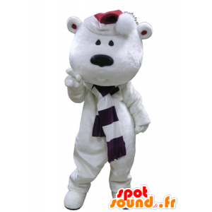 Big white teddy mascot with a scarf and hat - MASFR031623 - Bear mascot