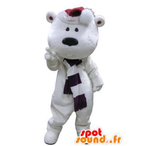 Grande mascote de pelúcia branco com um lenço e um chapéu - MASFR031623 - mascote do urso