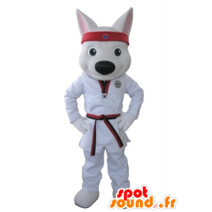 White Wolf Maskottchen in einem Kimono gekleidet - MASFR031625 - Maskottchen-Wolf
