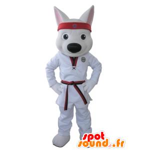 White Wolf mascot dressed in a kimono - MASFR031625 - Mascots Wolf