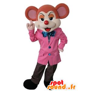 Naranja y beige de la mascota del ratón vestido con un elegante traje - MASFR031626 - Mascota del ratón