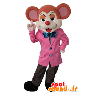 Orange and beige mouse mascot dressed in an elegant suit - MASFR031626 - Mouse mascot