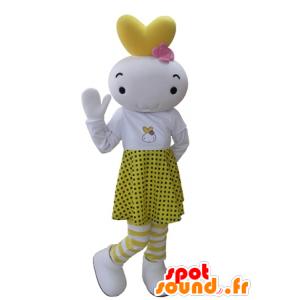 Weißen und gelben Maskottchen Schneemann in einem gepunkteten Rock gekleidet - MASFR031627 - Menschliche Maskottchen