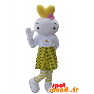 White and yellow snowman mascot dressed in a polka dot skirt - MASFR031627 - Human mascots