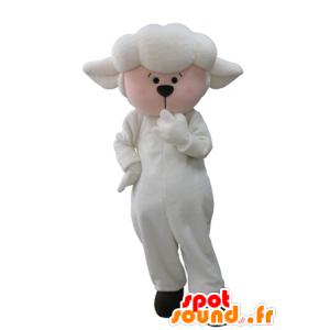 Mascot van schapen, lammeren en witte roos
