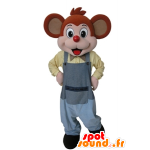 Arancione e rosa mascotte del mouse vestito con una tuta grigia - MASFR031629 - Mascotte del mouse