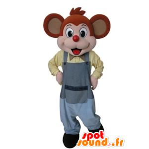Orange und rosa Maskottchen Maus in einem grauen Overall gekleidet - MASFR031629 - Maus-Maskottchen