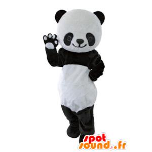 Mascotte e nero del panda bianco, bello e realistico - MASFR031632 - Mascotte di Panda