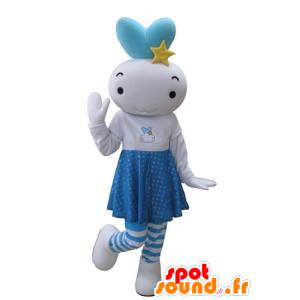 Mascot branco e boneco de neve azul, bebê gigante - MASFR031634 - Mascotes homem