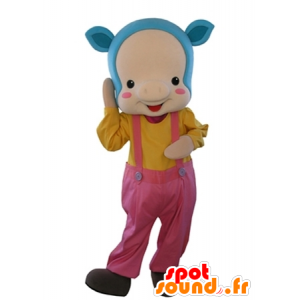 Pink pig mascot with blue hair and overalls - MASFR031635 - Mascots pig