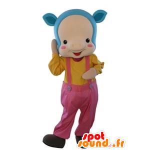 Vaaleanpunainen sika maskotti sininen tukka ja haalarit - MASFR031635 - sika Maskotteja