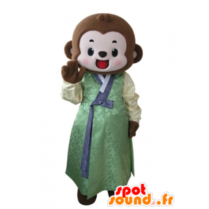 Mascotte de singe marron habillé d'une tunique jaune et verte - MASFR031636 - Mascottes Singe