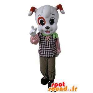 Valkoinen koira maskotti oranssi ja pukeutunut tyylikäs asu - MASFR031637 - koira Maskotteja