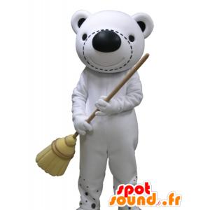 Mascot teddy white and black giant - MASFR031638 - Bear mascot