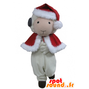 Goat mascot, white and black sheep in Christmas attire - MASFR031639 - Mascots sheep