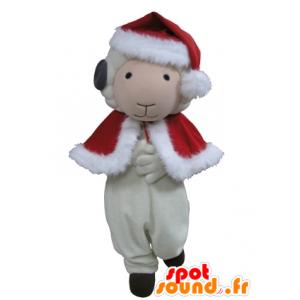 Ziege Maskottchen, weiße und schwarze Schafe in der Weihnachtskleidung - MASFR031639 - Maskottchen Schafe