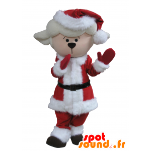 Cordero mascota, cordero blanco en traje de Navidad - MASFR031640 - Ovejas de mascotas