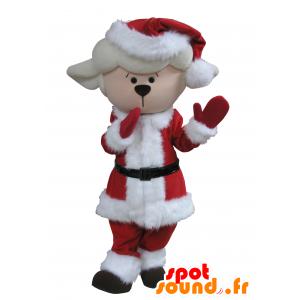 Mascot mutton, white lamb in Christmas attire - MASFR031640 - Mascots sheep