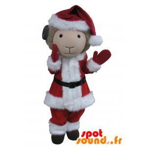 Mascotte de bouc, beige et noir en tenue de Père-Noël