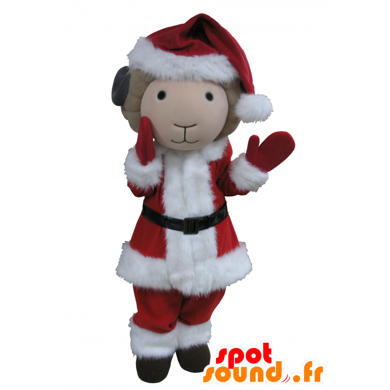 Goat mascot, beige and black Father Christmas outfit - MASFR031641 - Goats and goat mascots