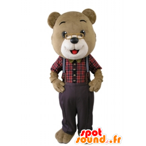 White and beige teddy mascot with glasses - MASFR031642 - Bear mascot