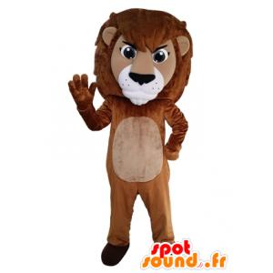 Mascot brauner und weißer Löwe, Riese. Katzen-Maskottchen - MASFR031643 - Löwen-Maskottchen