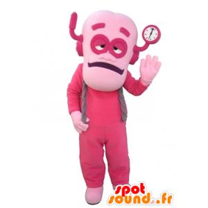 L'uomo mascotte, vestita di rosa robot rosa - MASFR031646 - Umani mascotte
