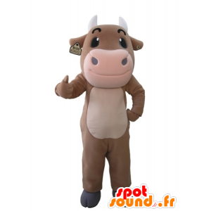 Brown and pink giant cow mascot