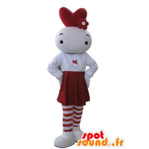 Snømann maskot, hvit og rød babyen - MASFR031649 - Man Maskoter