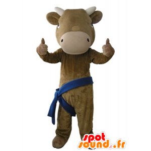 Brown and beige cow mascot, giant and very realistic