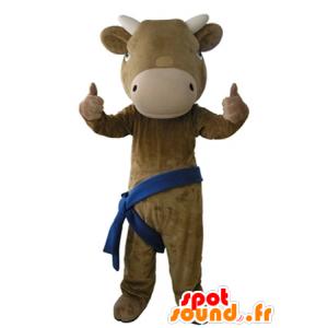 Mascotte de vache marron et beige, géante et très réaliste