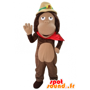 Brown monkey mascot with an explorer hat - MASFR031654 - Mascots monkey