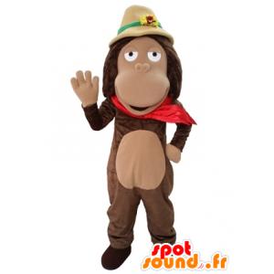 Brązowy małpa maskotka z badaczem kapelusz - MASFR031654 - Monkey Maskotki
