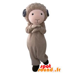 Mascotte de bouc marron et gris, mignon et doux - MASFR031657 - Mascottes Boucs et Chèvres