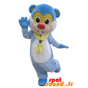 Blue teddy bear mascot, giant beaver and cute - MASFR031660 - Bear mascot