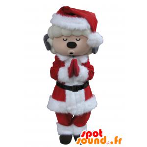 Mascotte della capra bianco e grigio vestito di Babbo Natale - MASFR031663 - Capre e capra mascotte