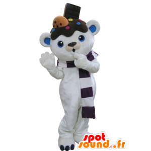 Mascot white and blue teddy bears with chocolate on his head - MASFR031664 - Bear mascot