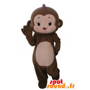 Affe Maskottchen braun und rosa, sehr nett - MASFR031665 - Maskottchen monkey