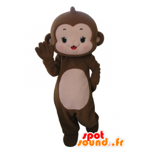 Scimmia mascotte marrone e rosa, molto carino - MASFR031665 - Scimmia mascotte
