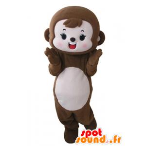 Mascotte de singe marron et rose, mignon et attendrissant - MASFR031667 - Mascottes Singe
