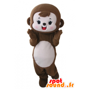 Monkey mascot brown and pink, cute and endearing - MASFR031667 - Mascots monkey