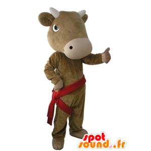 Mascotte mucca marrone, gigante e molto realistico