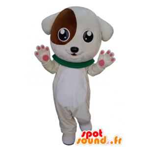 Mascot bruin en wit puppy, schattig en lief - MASFR031669 - Dog Mascottes