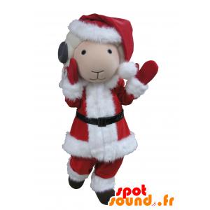 Mascotte della capra bianco e grigio vestito di Babbo Natale - MASFR031671 - Capre e capra mascotte