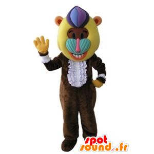 Mascotte de singe, de babouin marron avec une tête colorée - MASFR031672 - Mascottes Singe