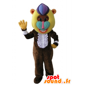 Monkey mascot, brown baboon with a colorful head - MASFR031672 - Mascots monkey