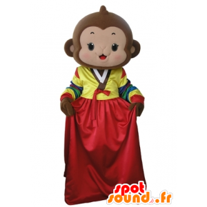 Brown monkey mascot with a colorful dress - MASFR031673 - Mascots monkey