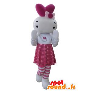 Mascot nukke, vaaleanpunainen ja valkoinen jänis - MASFR031675 - maskotti kanit