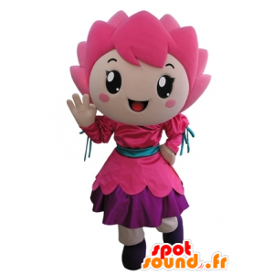 Mascot pink flower, smiling girl - MASFR031677 - Mascots boys and girls